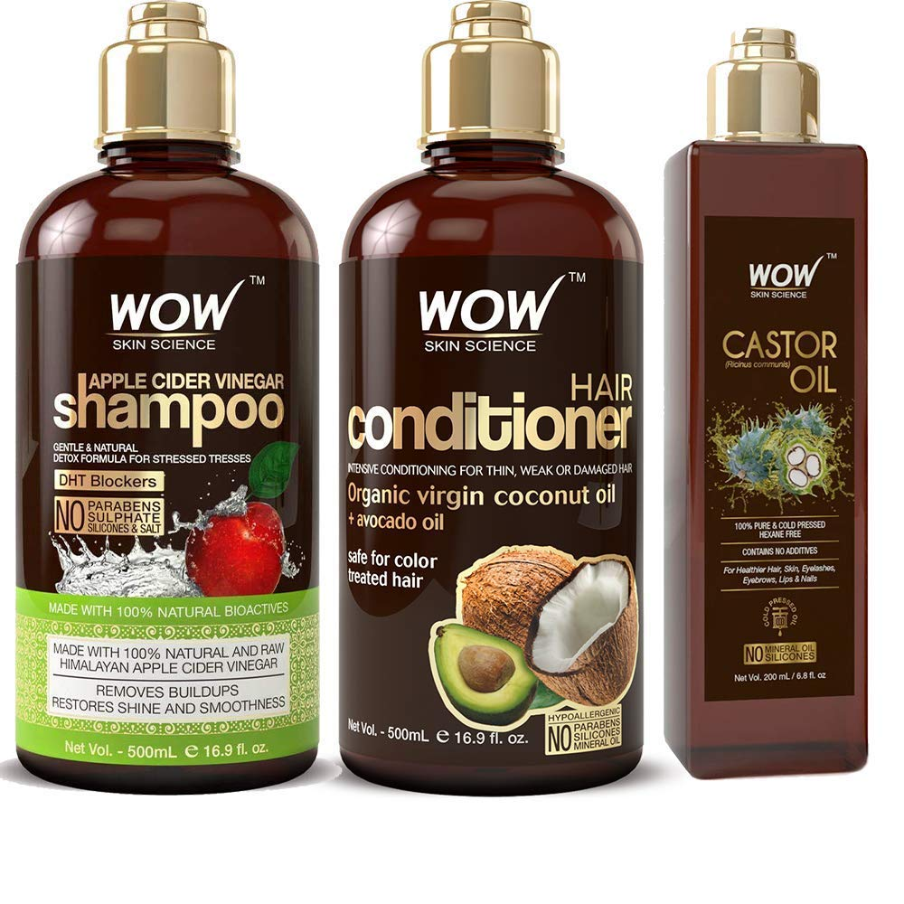 WOW Apple Cider Vinegar Shampoo & Hair Conditioner Set (2x 500ml) and Castor Oil (200ml) Bundle Kit - Increase Shine and Hair Growth