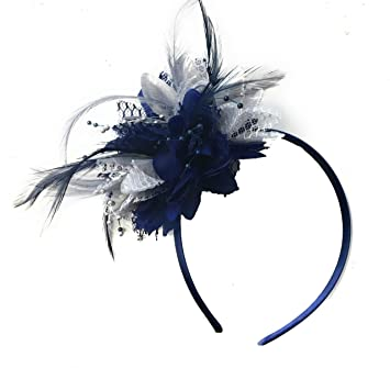 75590f59f56e0 Navy Blue and Silver Corsage Fascinator on Headband for Ascot Weddings