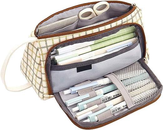 feeilty Estuche Escolar Dos Compartimentos poliéster, Estuche de lápices a Cuadros Bolsa de Almacenamiento Simple de Gran Capacidad portátil multifunción: Amazon.es: Hogar