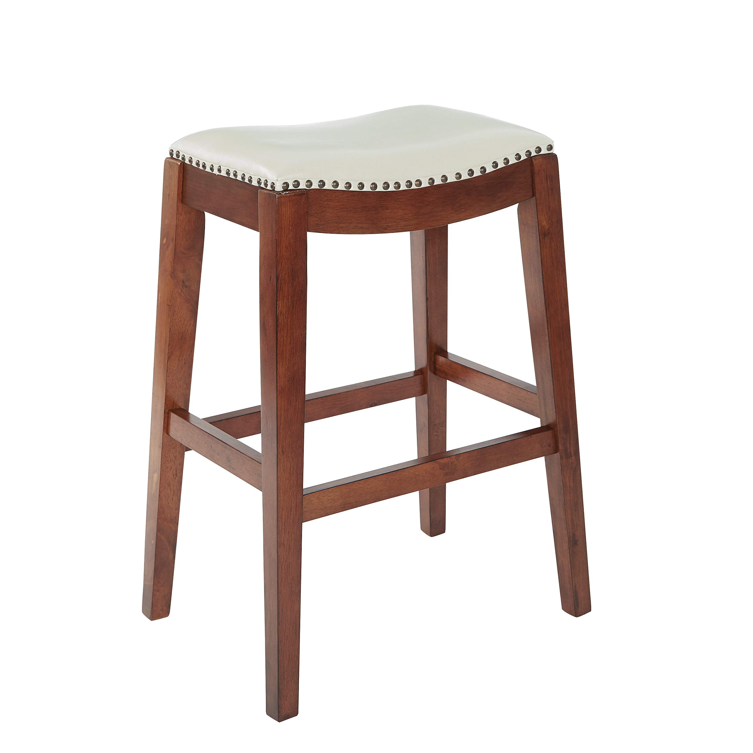 OSP Designs Metro Bonded Leather Bar-Height Saddle Stool with Nail Head Accents and Espresso Finished Legs, 29-inch Cream