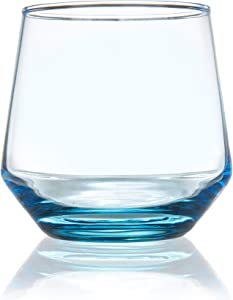 Burns Glass 12.5 OZ AZURE BLUE BEVERAGE Glasses Set of 6 I Clear Heavy Glass - Drinking Glasses for Water, Milk, Juice, Beer, Whisky, Wine I 12.5 Ounce Cups