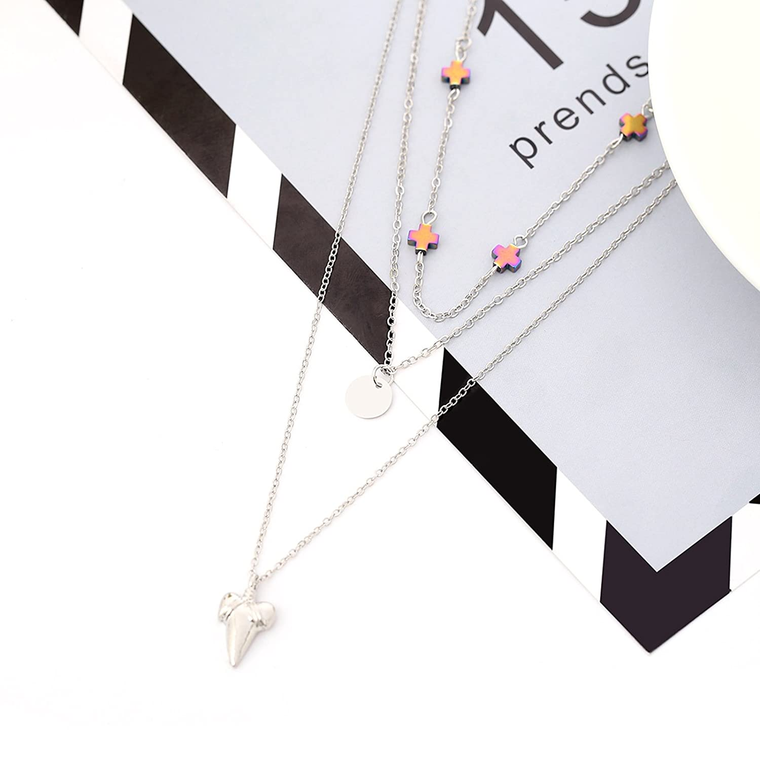 Bishilin Alloy Necklace for WomenClavicle Necklace Choker Multilayer Pendant Chain Cross Shark Teeth Round