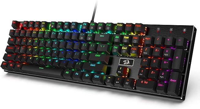 Redragon K556 RGB LED Teclado mecánico para juegos con cable retroiluminado, Base de aluminio, 104 teclas estándar