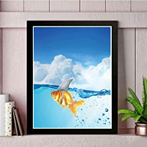 22yiihannz Modern Wall Painting - Cute Goldfish with Shark Fin on Top of The Water Fake Comic Nature - Art Picture Frame, Professional Print, Unique Home Decoration -18x14inch