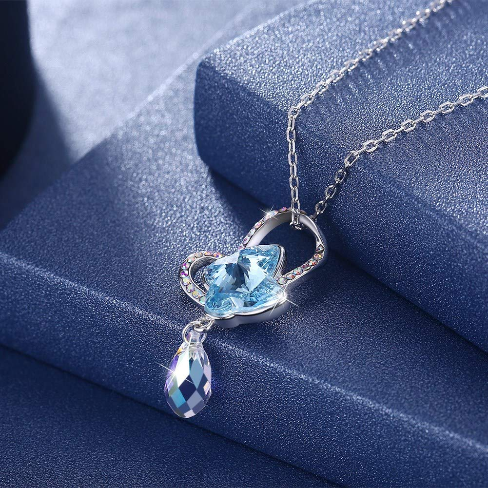myazs8580 LEKANI Crystal Comes from The Swarovski Element Butterfly Sterling Silver Necklace