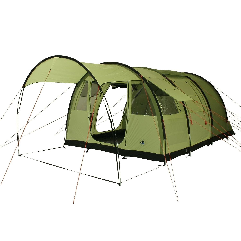 10T Camping-Zelt Leighton 4 Tunnelzelt mit Schlafkabine für 4 Personen Outdoor Familienzelt mit Wohnraum und Sonnendach, eingenähte Bodenwanne, wasserdicht mit 5000mm Wassersäule
