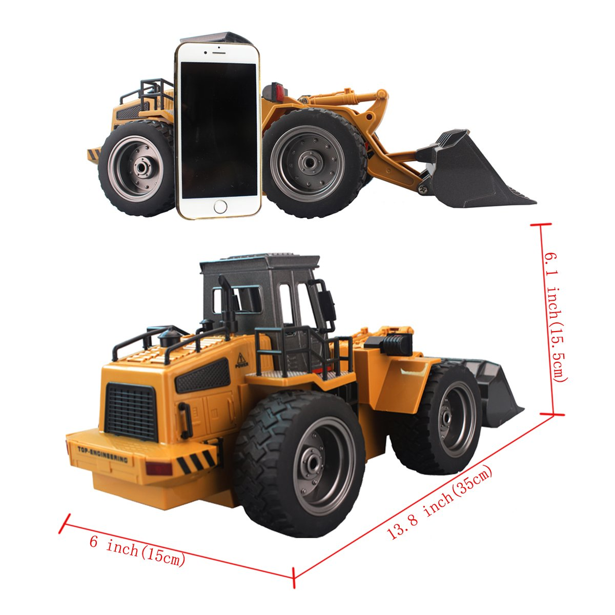 RC Wheeled Front Loader Remote Control Bulldozer Truck 6 Channel 2.4G Alloy Vehicle Tractor Toy with Lights