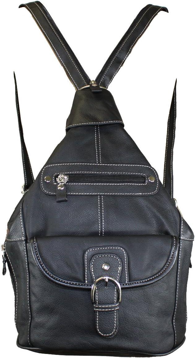 Women's Genuine Leather Sling Purse Handbag Convertible Shoulder Bag Tear Drop Backpack Mid Size Black