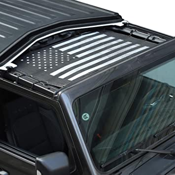 Full Mesh Sunshade Cover US Flag Roof Top Protect fit 2018 2019 Jeep Wrangler JL