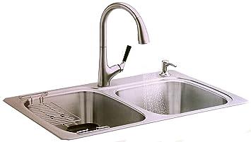 Kohler All In One Kit Stainless Steel Sink Pull Down Faucet Rack