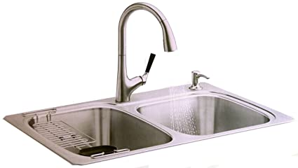 kohler all in one kit stainless steel sink pull down faucet rack rh amazon com american standard all in one kitchen sink american standard all in one kitchen sink