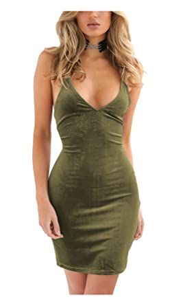 c13d2603 Zyyfly Doramode Womens Spaghetti Strap Bodycon Sleeveless Backless Velvet  Sexy Short Club Dress Army Green