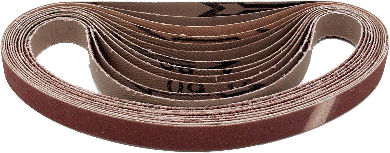 Lot de 48 bandes abrasives en tissu 10 x 330 mm chacune 8 x grain 40//60//80//120//180//240 Compatible avec limes /à ruban Papier abrasif