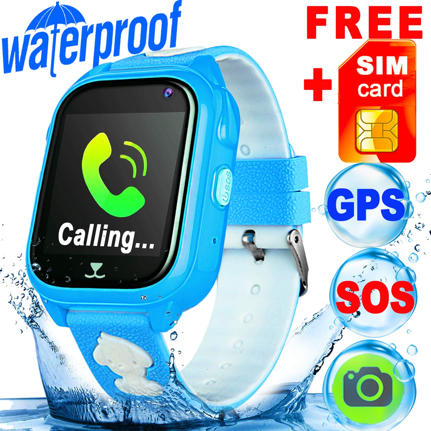 [SIM Card Included] IP68 Waterproof Kid Smart Watch Phone GPS Tracker Safety Smartwatch 3-12 Year Girls Boys SOS Camera Anti-Lost Game Smart Bracelet Wrist Watch Live Mobile App for iOS/Android