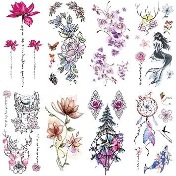 de9cd909a9dae Yesallwas 8 Sheet cute Temporary Tattoo Sticker Fake Tattoos for Women  Girls Models,Waterproof Long