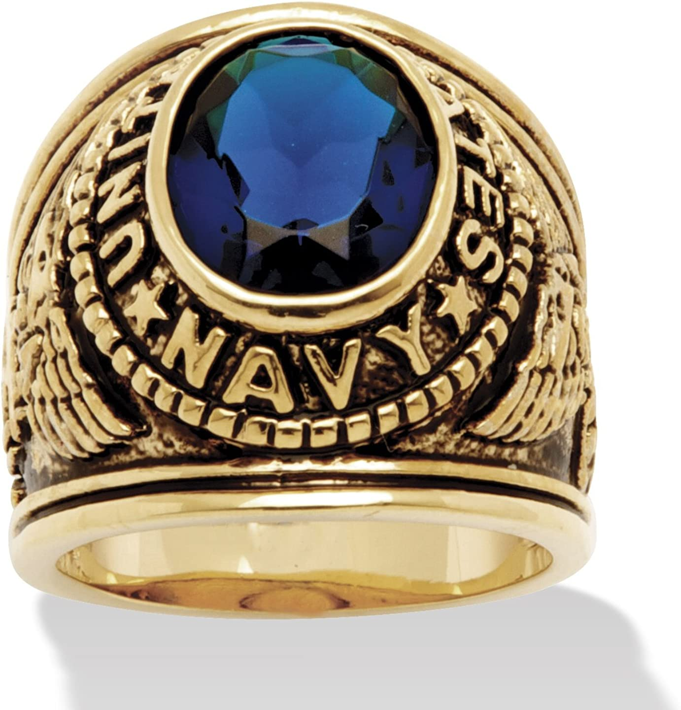 Palm Beach Jewelry Men's 14K Yellow Gold Plated Antiqued Oval Cut Simulated Blue Sapphire United States Navy Ring