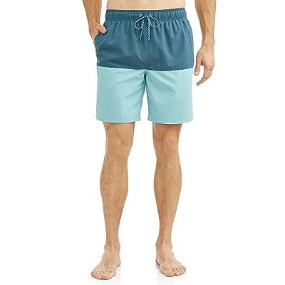 Blue Shark/Turquoise Stone Color Block All Guy Swim Short Trunks   .com