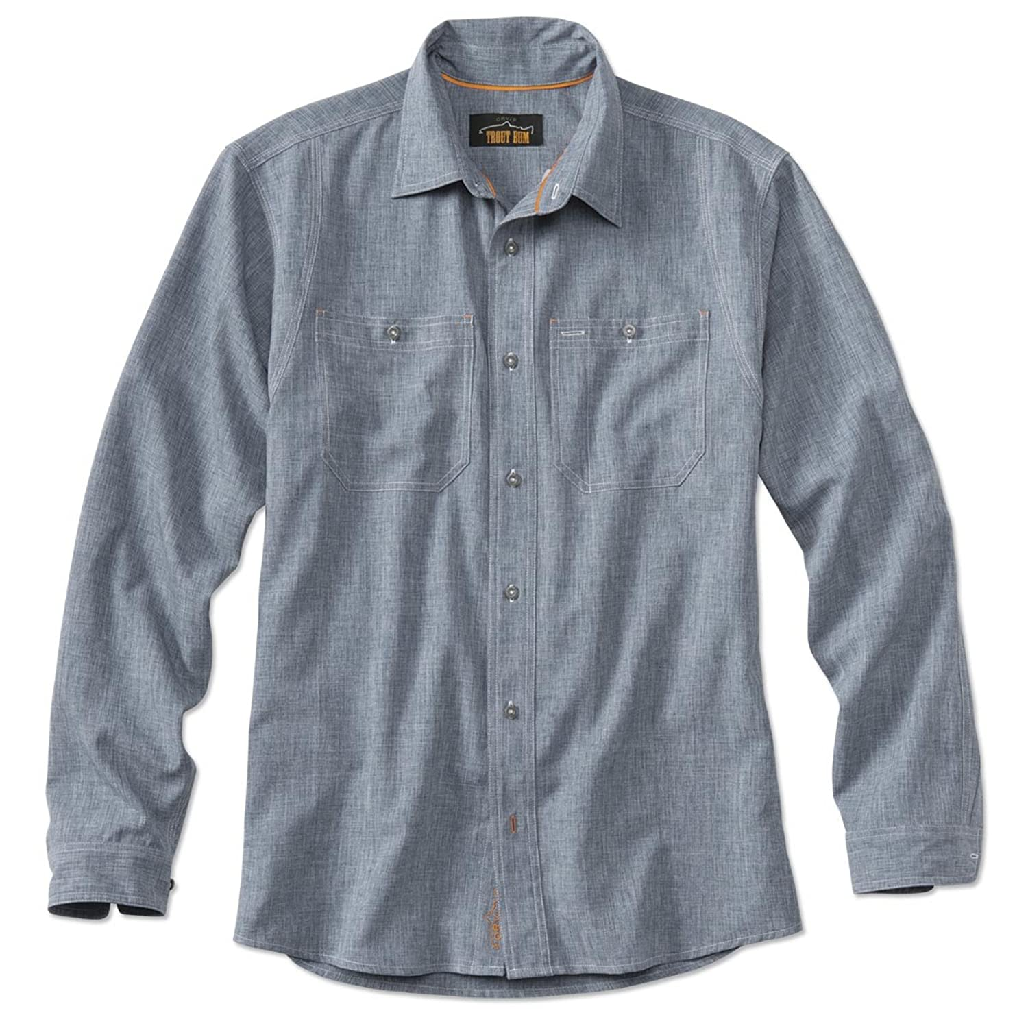 1920s Style Mens Shirts | Peaky Blinders Shirts and Collars Orvis Tech Chambray Work Shirt $89.00 AT vintagedancer.com
