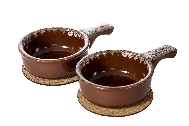 Baking Serving Onion Soup 14 Ounce Bowls with Handles - Set of 2 - Porcelain Individual Stoneware Chowder Bisque Pot Pie Crocks