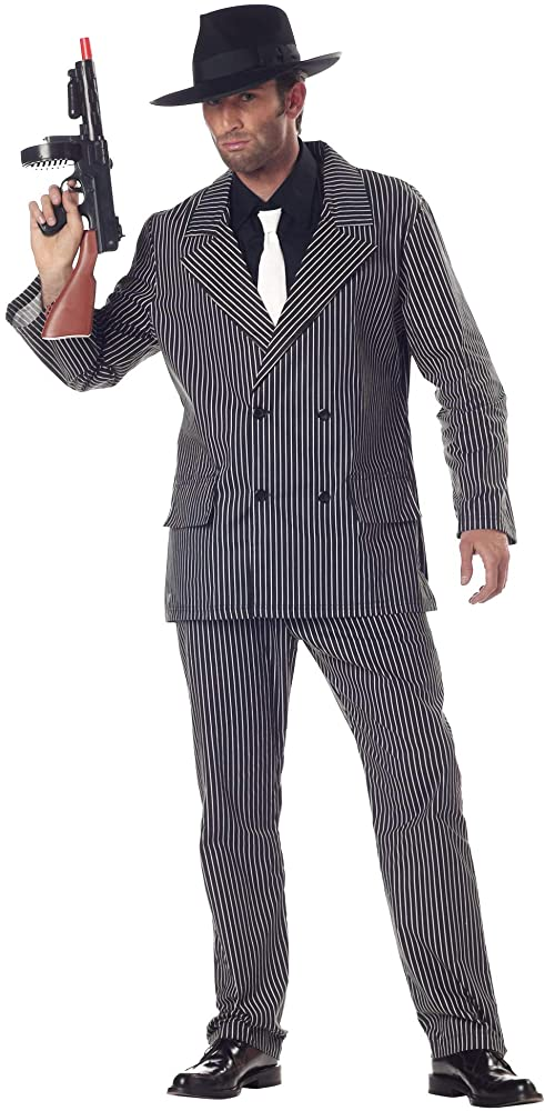 Black Shirt Front With Pink Tie Mens Costume Kit One Size
