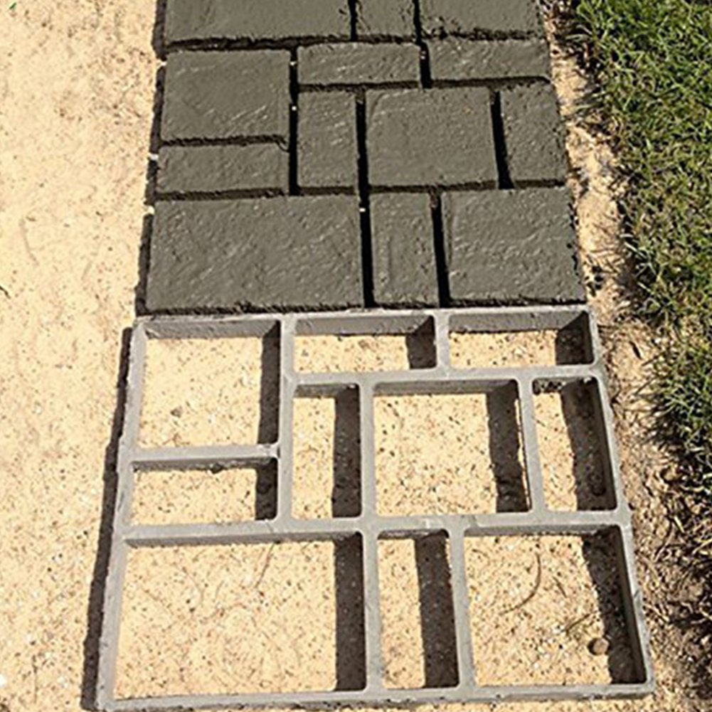 INDRESSME DIY Pavement mold Sturdy Walk Maker Pathmate Paving Cement Brick Mould Garden Lawn Road, 17.7 x 15.7 x 1.6 Inches, 2pack