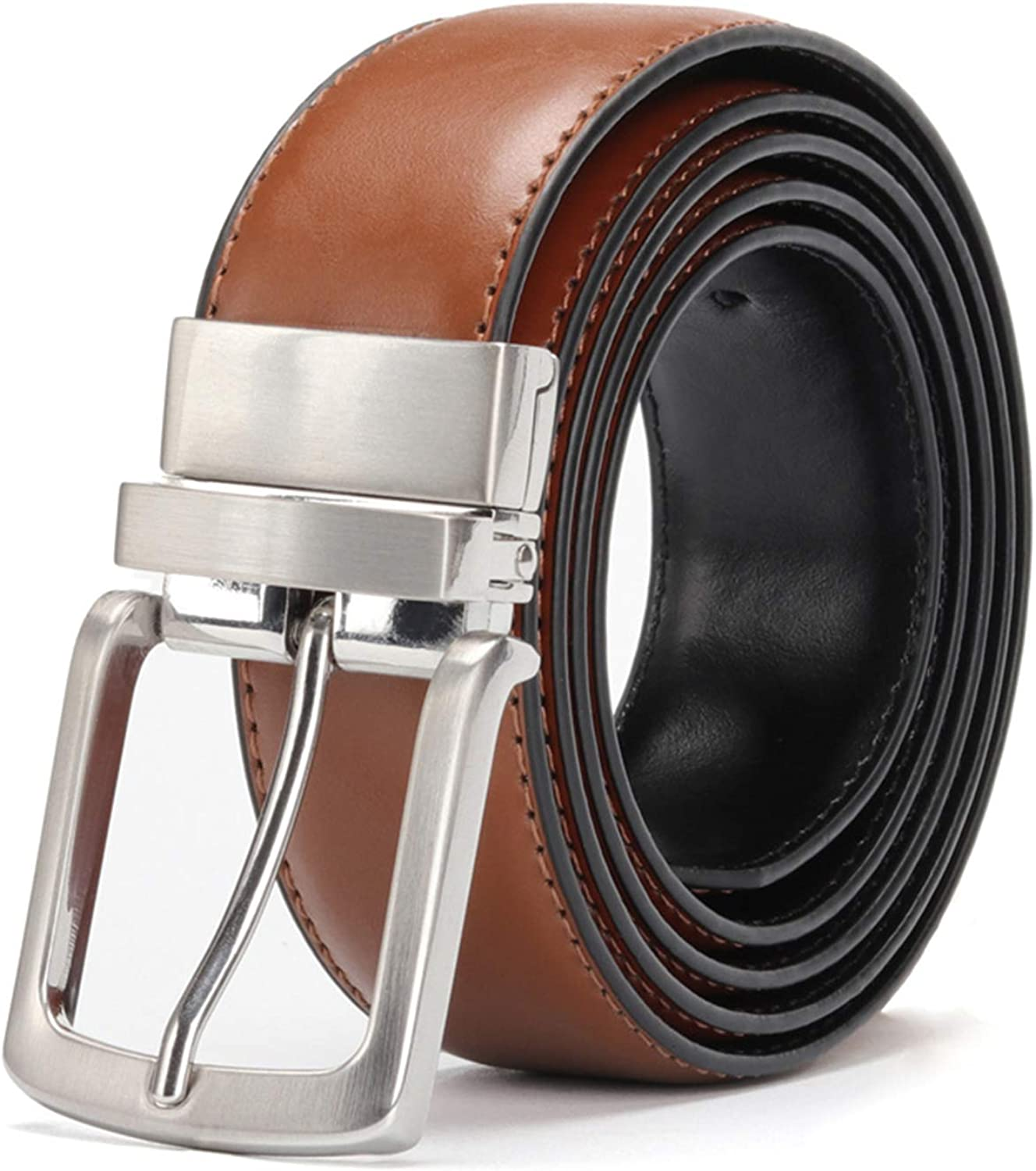 Mens Leather Belt Reversible For Jeans Rotated Buckle Cowskin Leather Belts