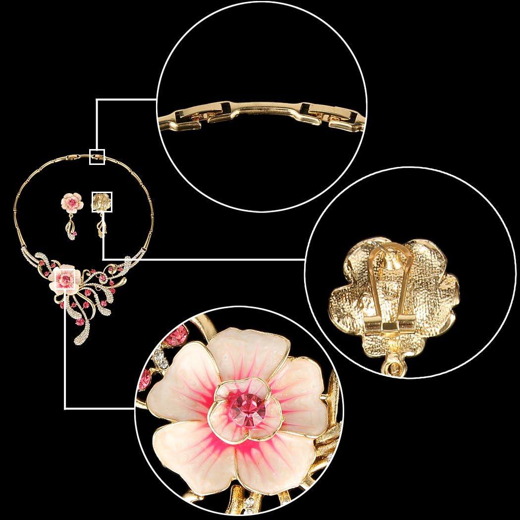 Ever Faith Parure Collier et Boucles doreilles pour Femme avec Cristaux autrichiens et Fleurs Hibiscus Rose dor/é
