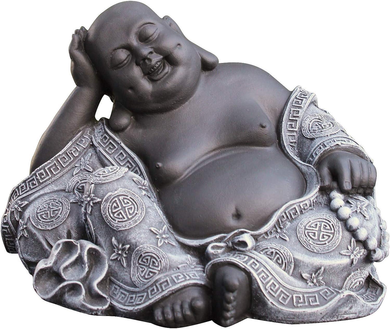 Steinfigur Happy Buddha Glücksbuddha Skulptur Steinguss Frostfest  28 cm