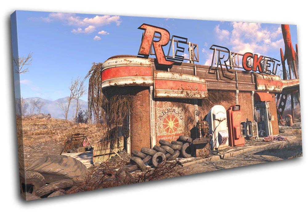 Bold Bloc Design - Fallout 4 ROT Rocket Gaming 180x90cm SINGLE Leinwand Kunstdruck Box gerahmte Bild Wand hangen - handgefertigt In Grossbritannien - gerahmt und bereit zum Aufhangen - Canvas Art Print