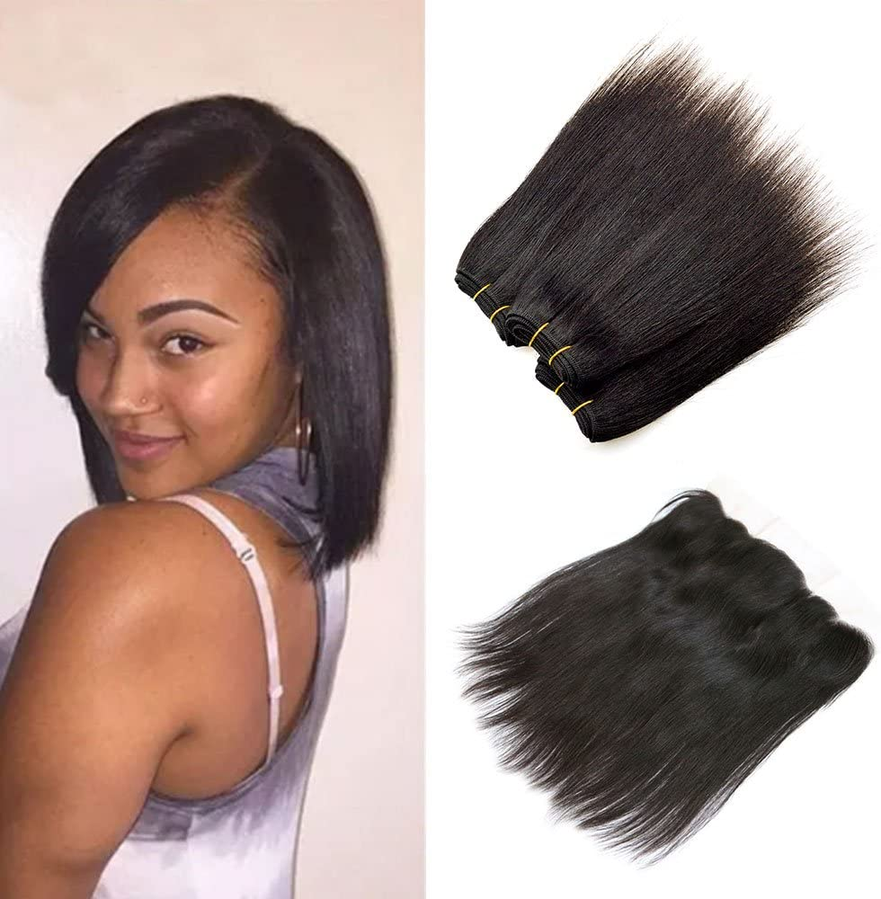 8 Inch Sew In Human Hair Extensions Short Weave Straight 7a Peruvian Virgin Hair Natural Black Ear To Ear Lace Frontal With Bundles 8 8 8 8 8 Free Part Amazon Co Uk Beauty