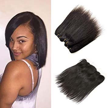 amazon com 8 inch sew in human hair extensions short weave
