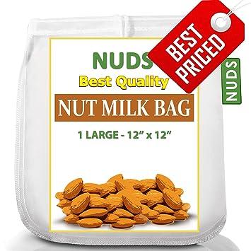 """Tuerca de leche bolsa grande – 12 x 12 pulgadas reutilizable Colador – 12 """""""