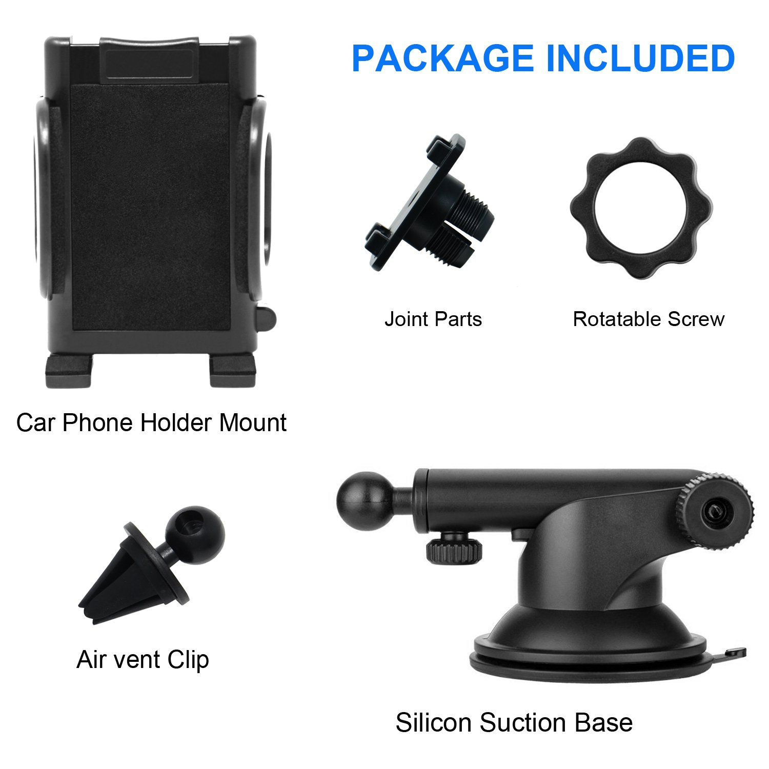 iProductsUS Phone Holder for Car, Universal Car Phone Mount, Hands Free Windshield Dashboard and Air Vent Car Cradle Mount for iPhone Samsung LG HTC All of the Smartphones and GPS Devices (BlackGray)