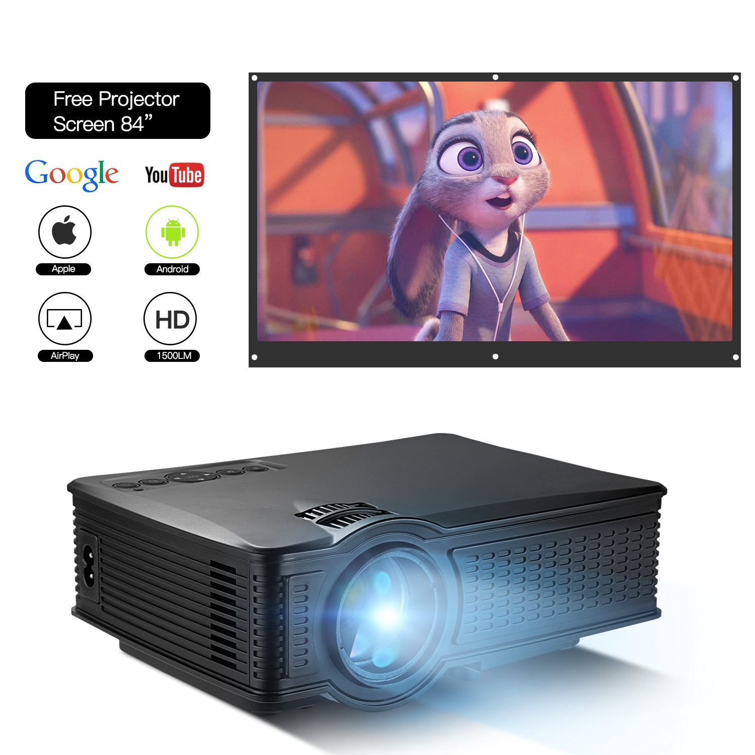 DOACE P1 HD 1080P Video Projector Indoor Outdoor with Portable Projector Screen 84'', Home Theater Projector Support USB SD Card VGA AV for Home Cinema TV Laptop Game Smartphone with Free AV Cable