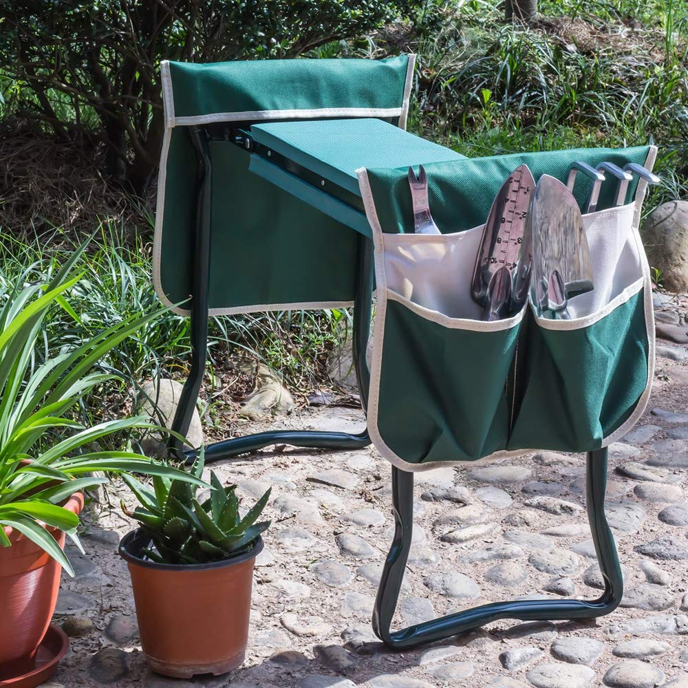 YANEE Foldable Kneeler Garden Bench Stool Soft Cushion Seat Pad Cushion Kneeling, Tool Pouch, Material: Steel Pipe, EVA, Dimensions: 22 3/4'' W × 11'' D × 19 1/3'' H by YANEE (Image #4)