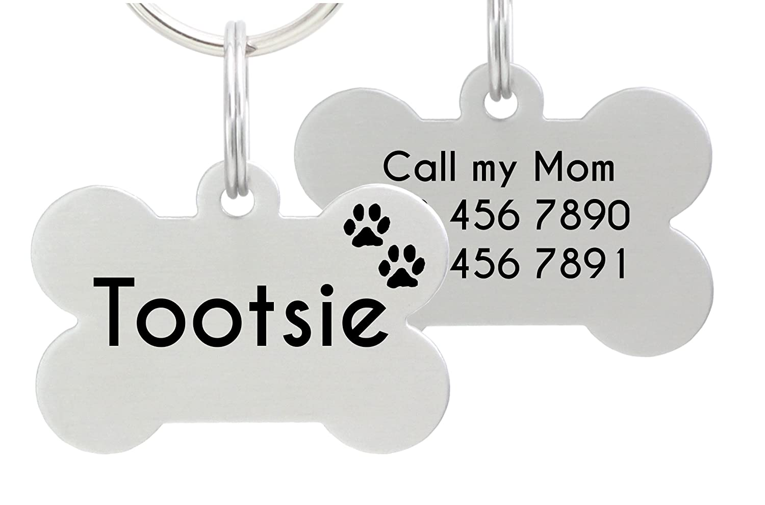 9c39f6406fc8 Amazon.com : io tags Double Sided Laser Etched Stainless Steel Pet ID Tag  for Dog Engraved and Personalized Bone Shape (Paws) : Pet Supplies