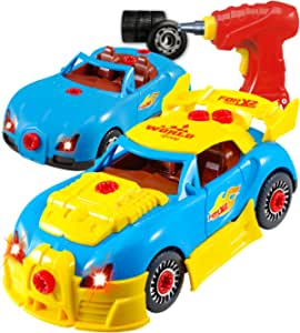 Think Gizmos Take Apart Toy Car for 3 4 5 Year Old Boys & Girls – Fun Toy with Working Drill - Build Your Own Car Kit STEM Toy - Realistic Engine Sounds & Lights