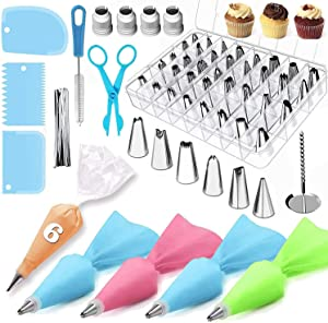Cake Decorating Kit Supplies 72 Pieces with Icing Tips, Pastry Bags, Icing Smoother, Piping Nozzles Coupler, Flower Nails, Decorating Pen, Flower Lifter for Cake Decoration Baking Tools