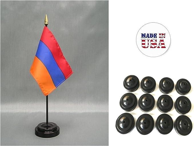 Armenia Table Desk Flag With Wooden Base