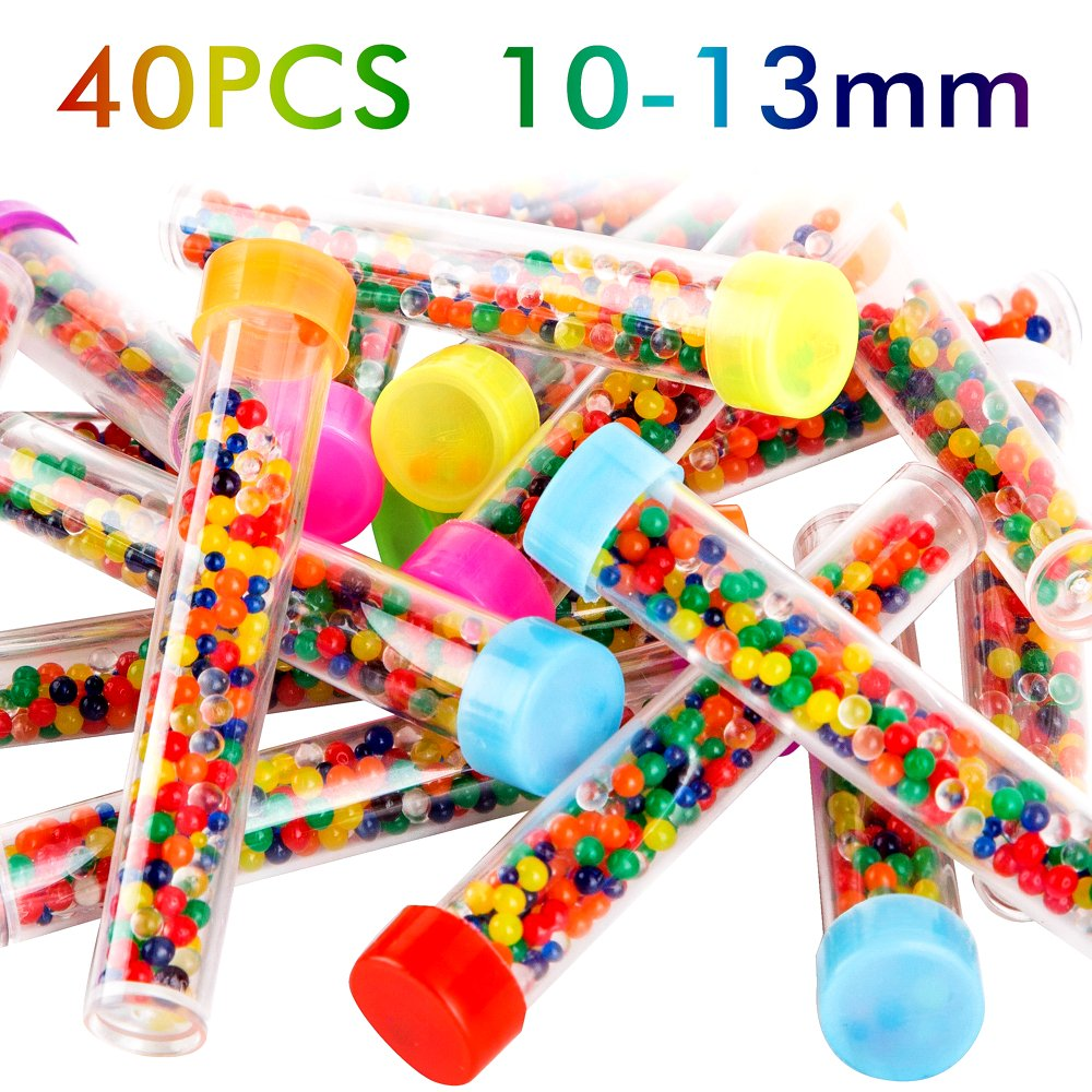 PROLOSO Water Beads Kit Rainbow Mix Water Jelly Beads Growing Balls for Orbeez Spa Refill Kids Sensory Toys and Kids Awards - 40 Tubes