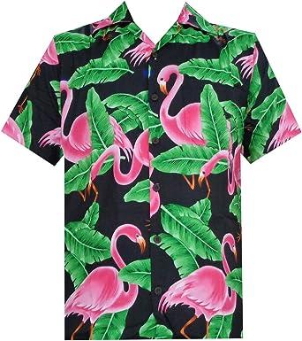 Camisa Hawaiana Hombre Manga Corta Palmeras Fiesta Aloha