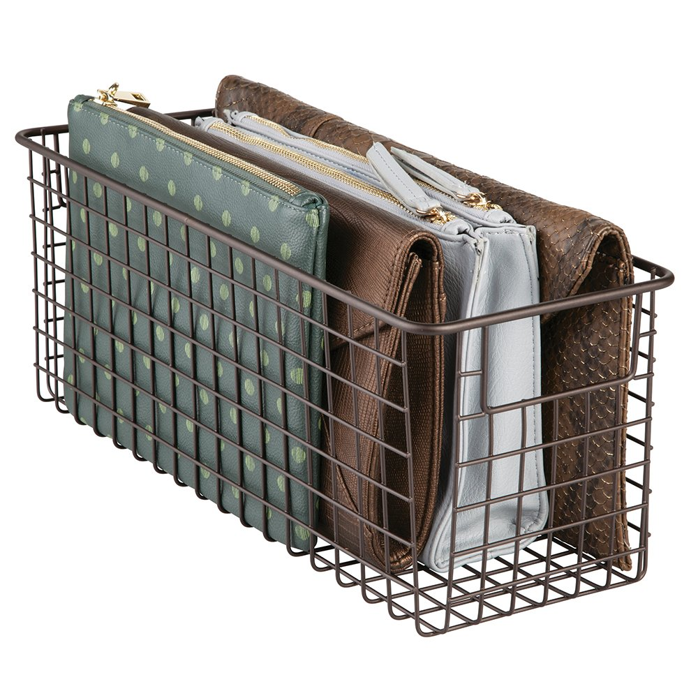 mDesign Household Wire Storage Organizer Bin Basket with Built-in Handles, Grid Design for Closets, Bedrooms, Entryways, Mudrooms or Kitchen Cabinets, Pantry, Bathrooms - 16'' x 5'' x 6'', Bronze