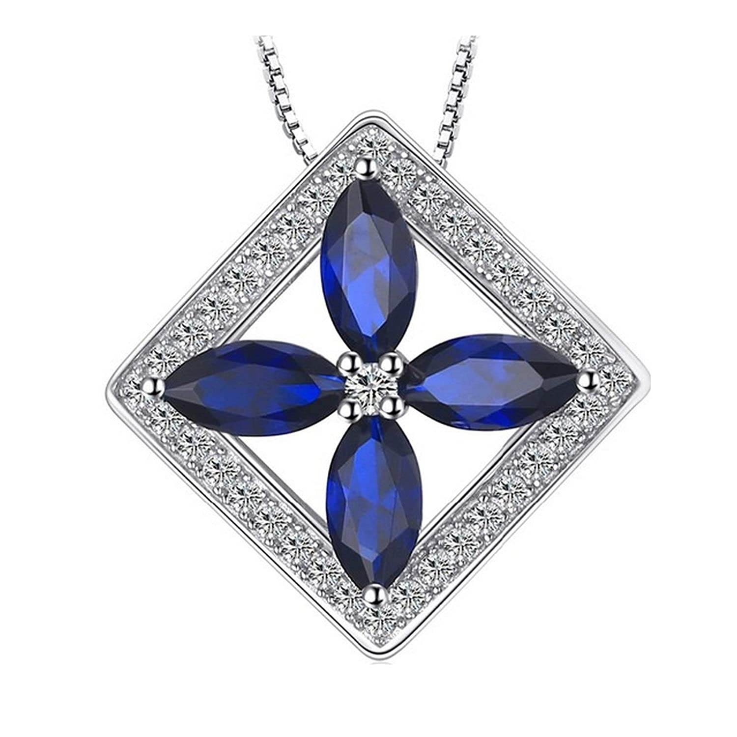 Womens Necklaces by CS-DB Classic Flower 4.8ct Gift Blue Spinel Charm Jewelry Girls Silver Pendants