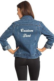 e8a344fa14 Custom Embroidered Denim Jacket - Dark Wash Women s Denim Jacket - Create  Your Own Denim Jacket