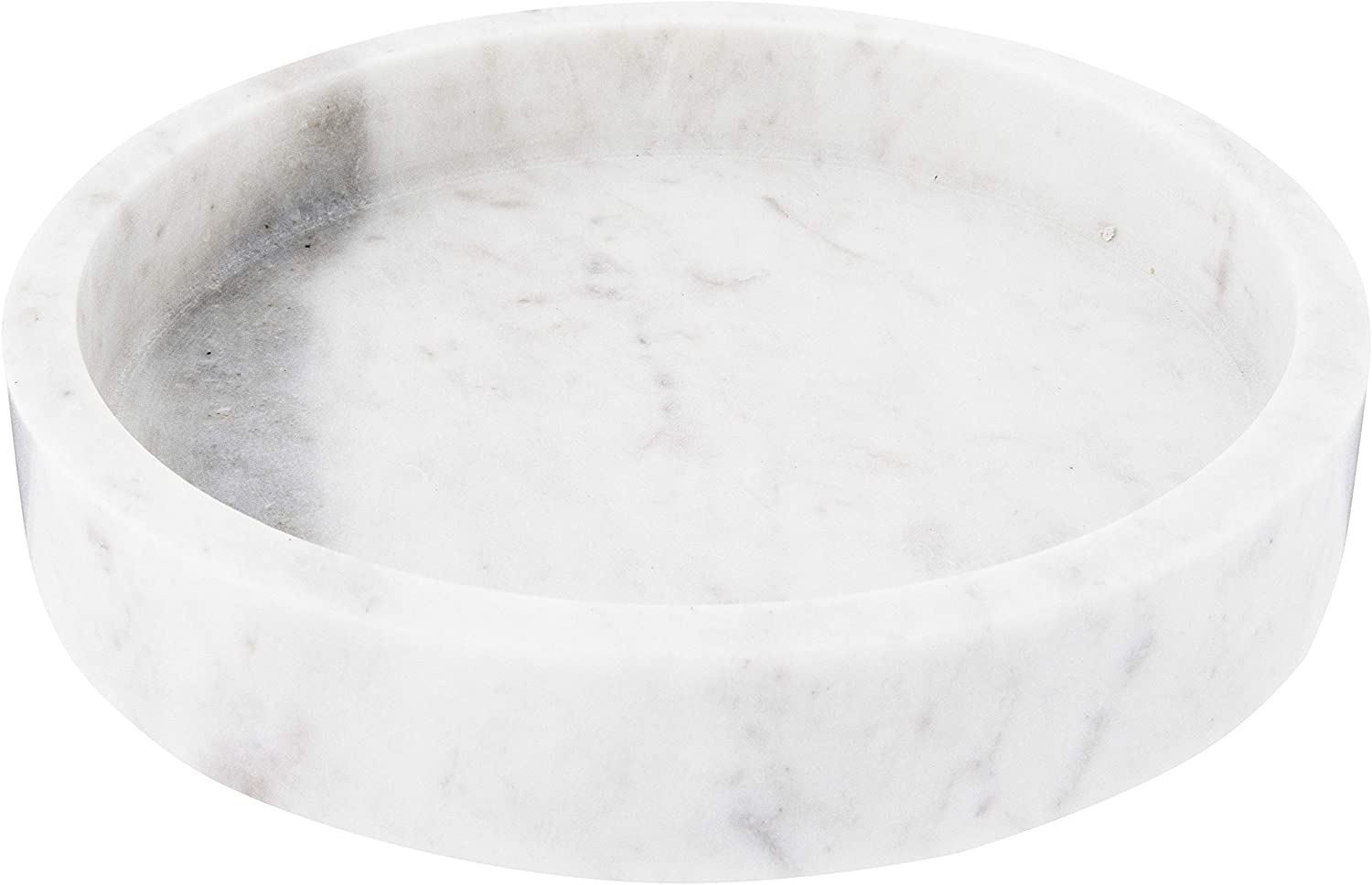 round carved white marble tray