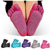 Wonyered Anti-slip Yoga Socks 5 Pairs Non Slip Full Toe Pilates Socks Anti Skid Grip Workout Cotton Ankle Socks for Women & Girls