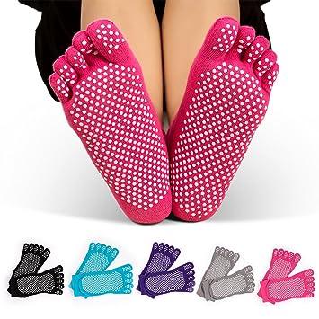 GHB 5 Pairs Non Slip Skid Pilates Yoga Socks Anti Full Toe with Grips Cotton...