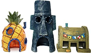 SLOCME Aquarium Pineapple House Aquarium Ornament - Fish Tank Spongebob House,Squidward Hidout and Krusty Krab Decorations - 3 Pack
