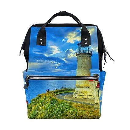 COOSUN Orilla del mar Faro de la bolsa de pañales mochila, de gran capacidad Muti