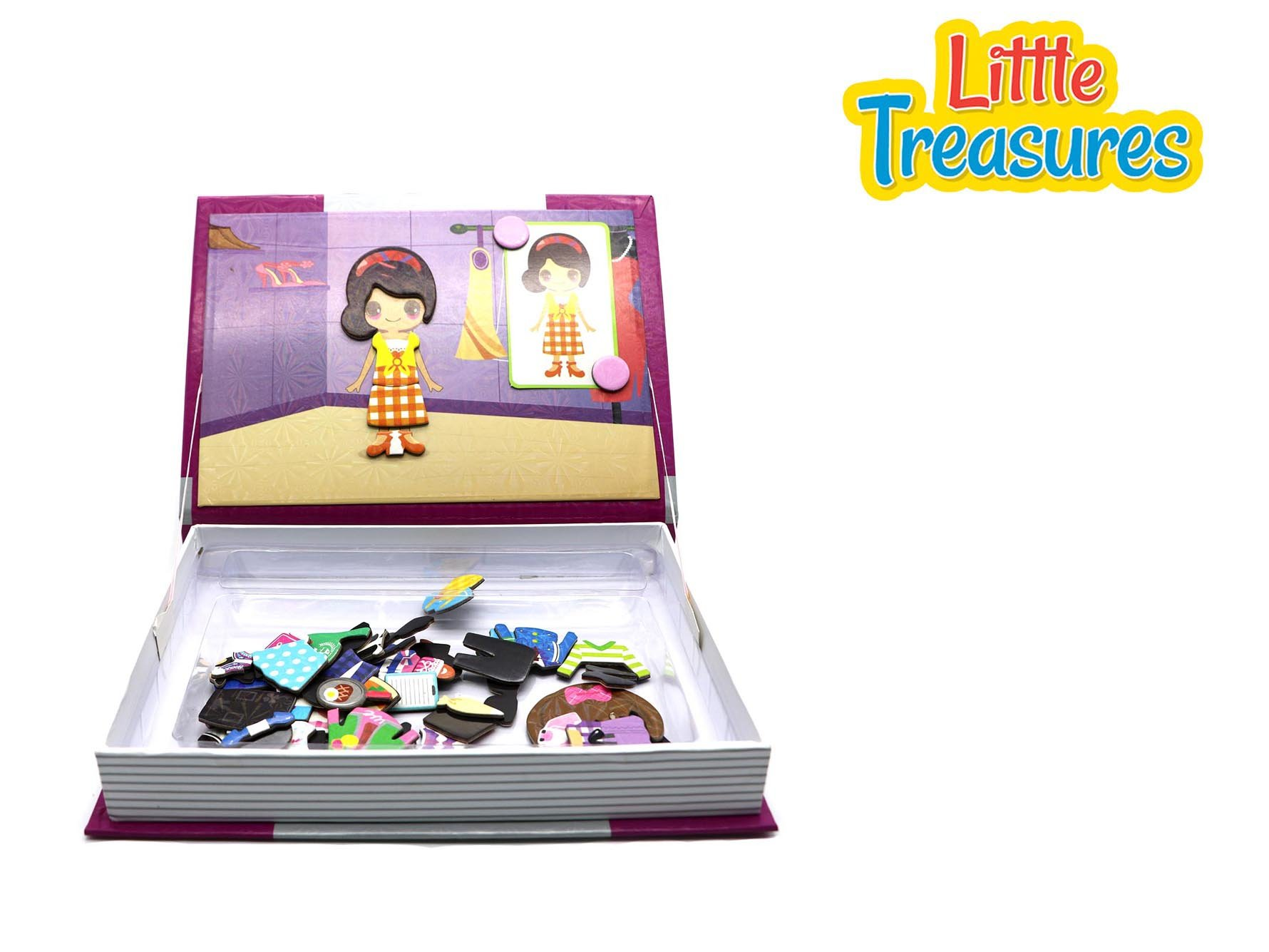 Little Treasures 81-Pcs Magnetic Dress-Up Set - Fashion Closet Dressup Girl Toy Book for Kids Ages 3 Plus by Little Treasures